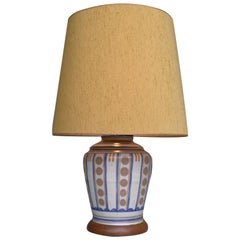 Art Deco French Ceramic and Wood Table Lamp with Silk Lampshade, France, 1940s