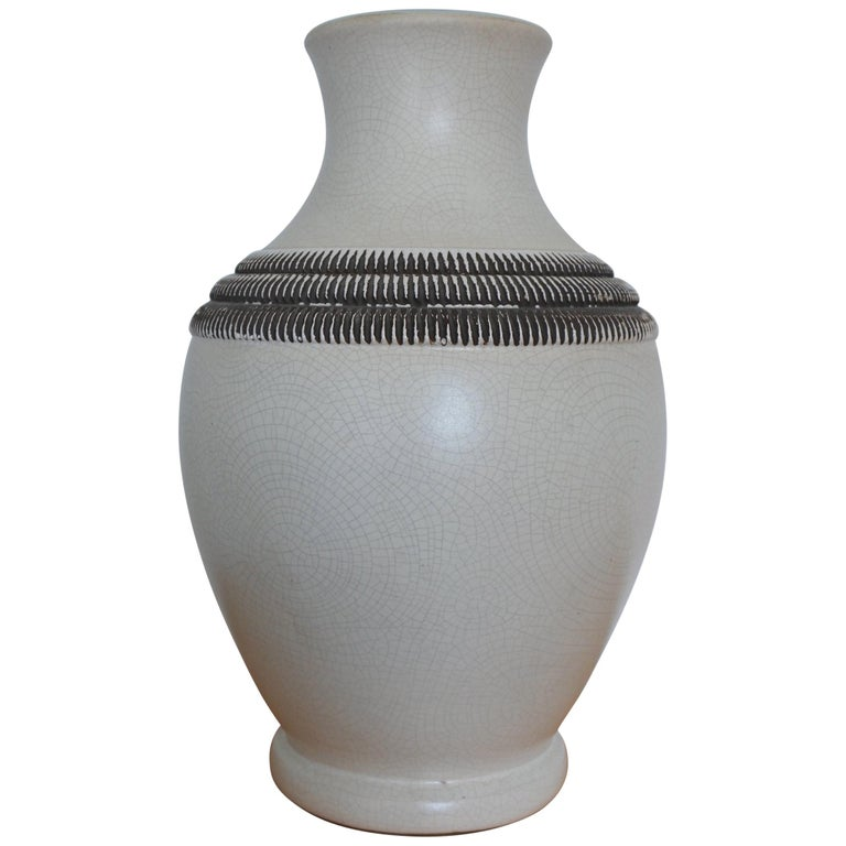 Art Deco French Ceramic Vase by Pol Chambost For Sale