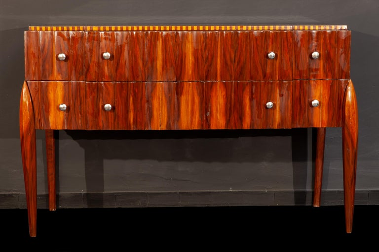 Walnut Art Deco French Chest of Drawer or Commode, 1930 For Sale