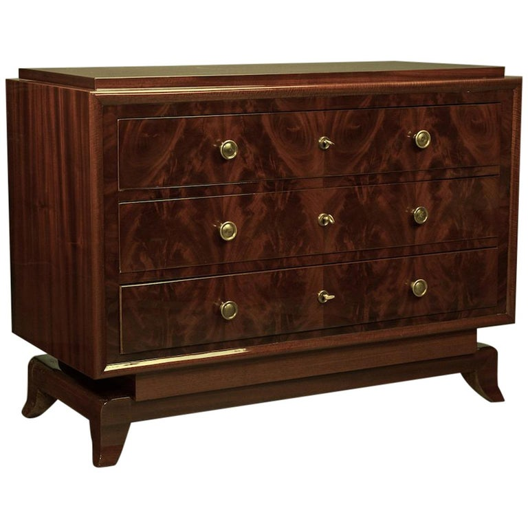 Art Deco French Chest of Drawers / Commode in Cherrywood For Sale