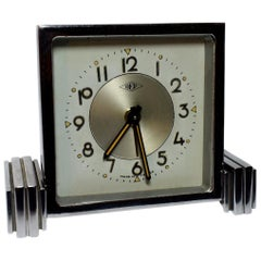 Art Deco French Chrome Cased Clock by Dep