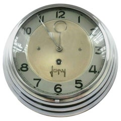 Art Deco French Chrome Wall Clock by Japy Freres, circa 1930