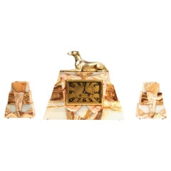Art Deco French Clock Set, Greyhound
