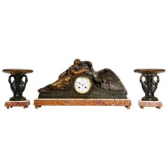 Art Deco French Clock Set - Leda and the Swan by Pierre Sega