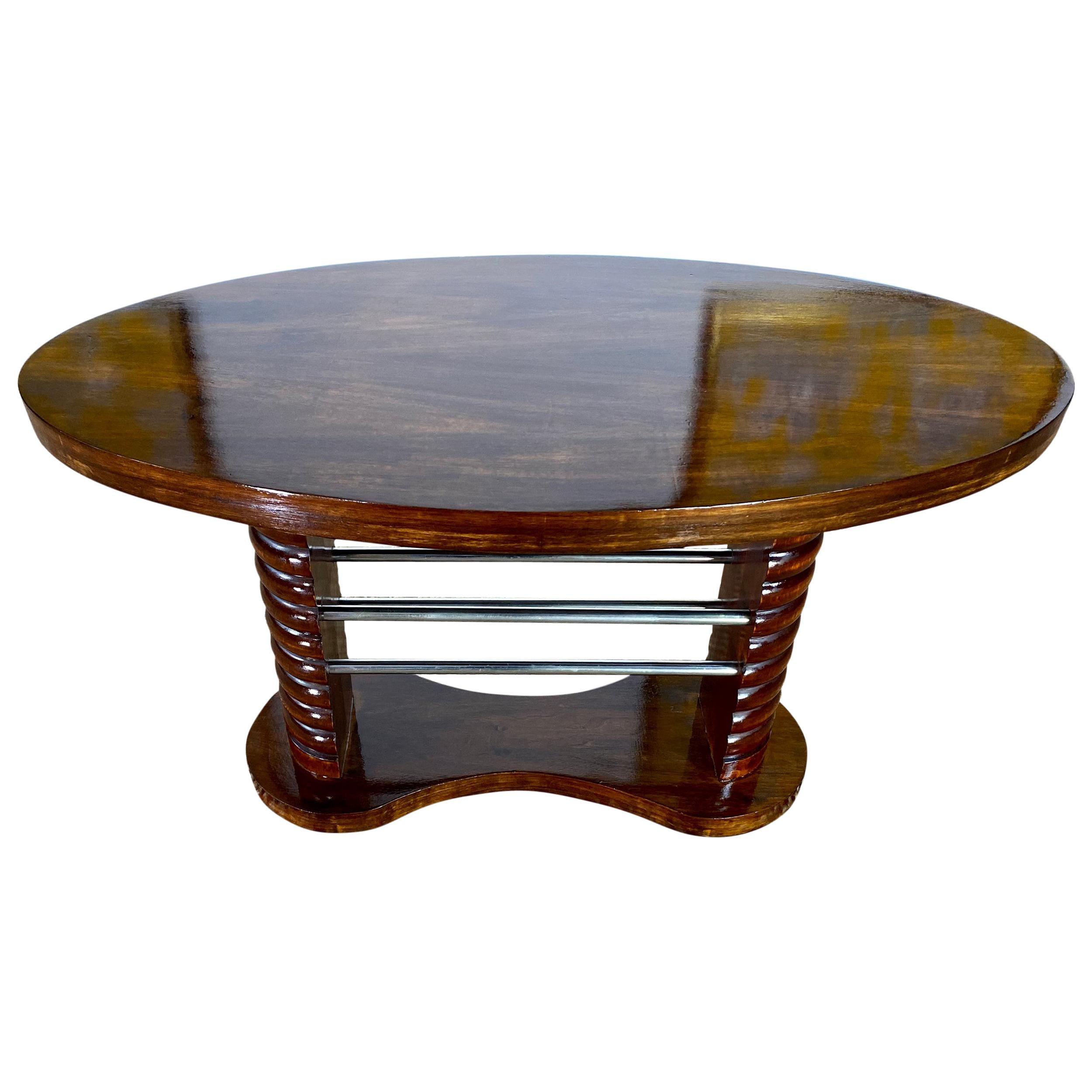 Art Deco French Coffee Side Table, Mahogany, Chrome Guéridon, France, circa 1930