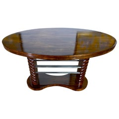 Art Deco French Coffee Side Table, Mahogany, Chrome Guéridon, France, circa 1930