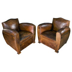 Art Deco French Cognac Leather Moustache Club Chair, circa 1930