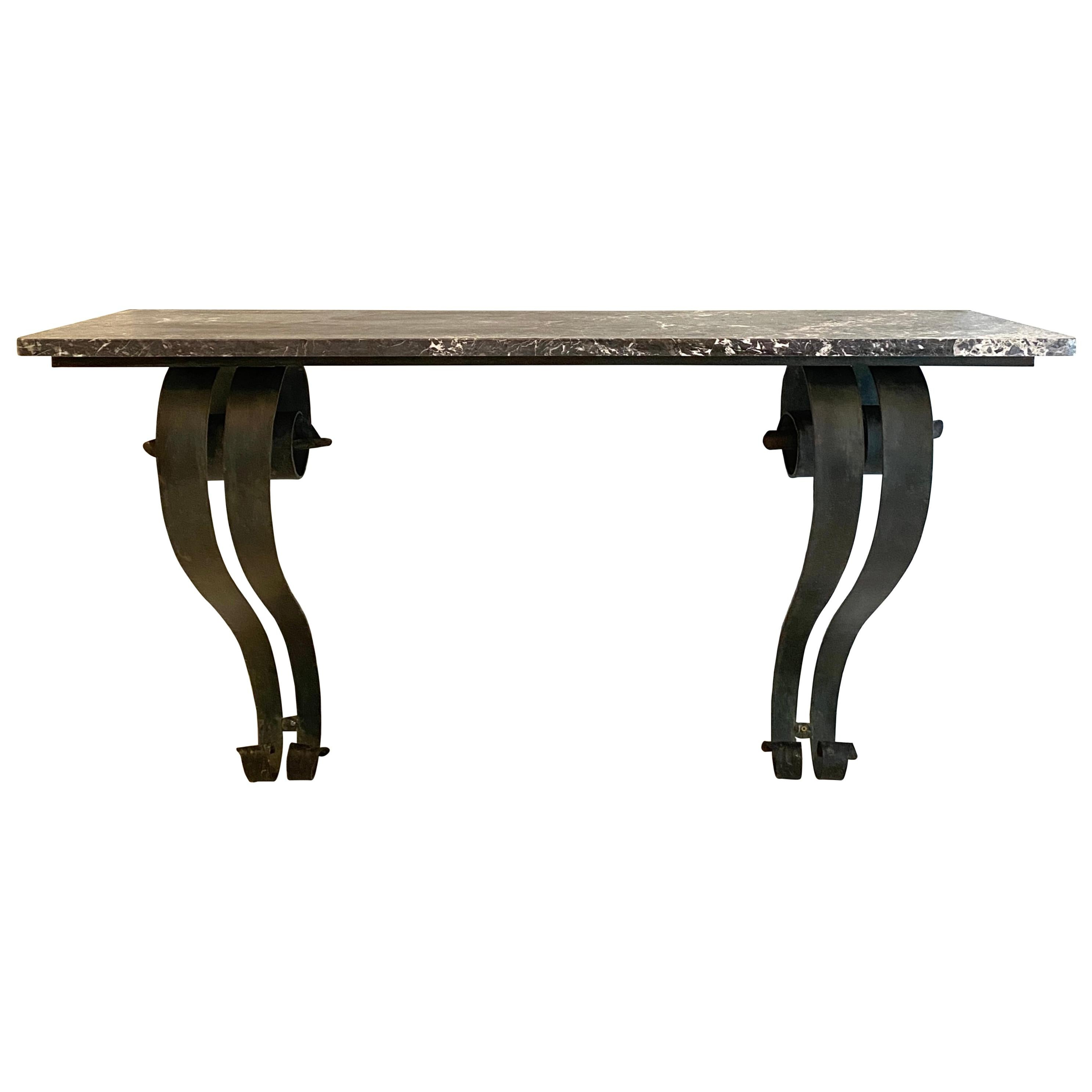 French Art Deco Console Table in Forged Metal and Marble by Raymond Subes, 1925