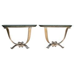 Art Deco French Console Tables Att. Jules Leleu