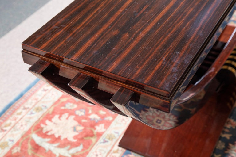 Art Deco French Consoles in Macassar Wood with Brass Lines In Excellent Condition For Sale In Houston, TX