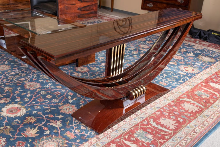 Mid-20th Century Art Deco French Consoles in Macassar Wood with Brass Lines For Sale