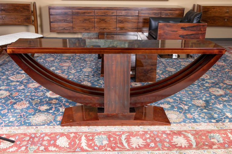 Art Deco French Consoles in Macassar Wood with Brass Lines For Sale 1