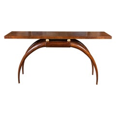 Art Deco French Console in Walnut with Brass Spheres