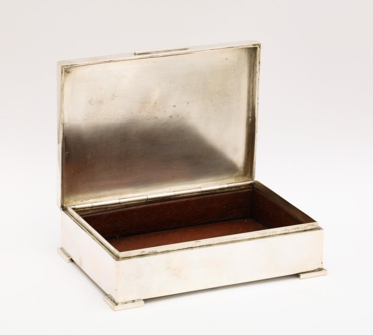 Art Deco French Continental Silver '.800' Footed Table Box For Sale 6