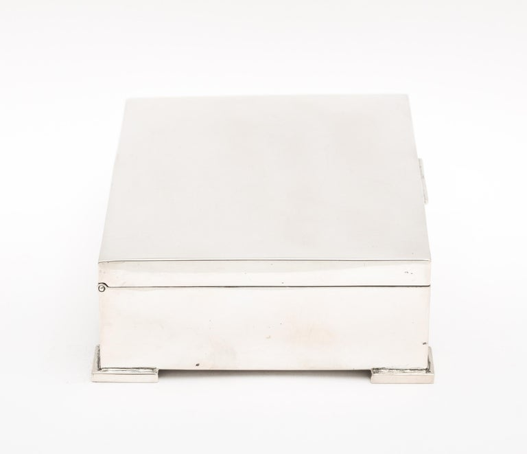 Sterling Silver Art Deco French Continental Silver '.800' Footed Table Box For Sale