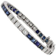 Art Deco French Cut Sapphire and Diamond Platinum One Line Bracelet