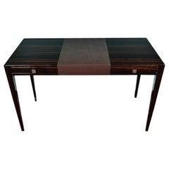 Art Deco French Desk in Macassar Wood with Leather Top Insert