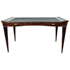 Art Deco French Desk in Walnut with Elevated Corners