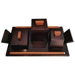 Art Deco French Desk Set in Chestnut Wood Painted with Tray1930
