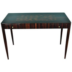 Art Deco French Desk with Parquet Top in Macassar Wood