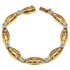 Art Deco French Diamond and Gold Bracelet