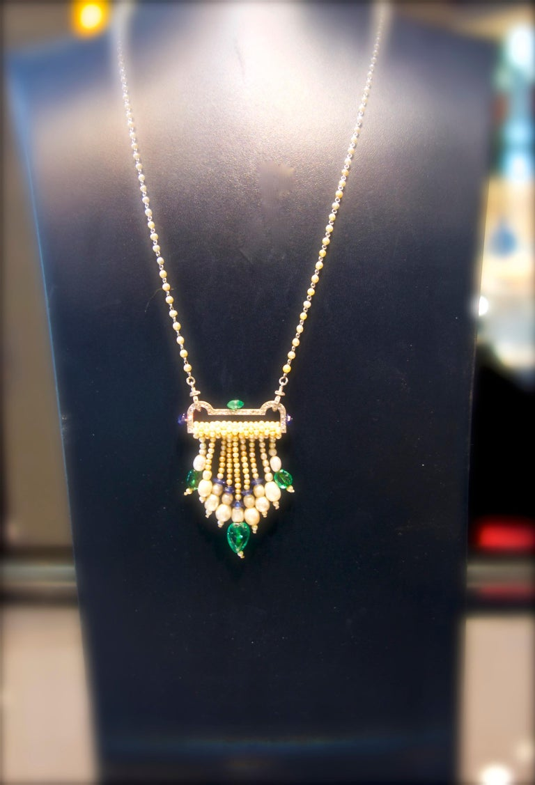 Art Deco French Diamond, Natural Pearl, Emerald, Sapphire Necklace In Good Condition For Sale In Aspen, CO