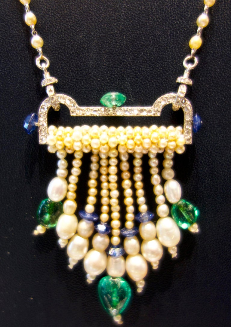 Women's or Men's Art Deco French Diamond, Natural Pearl, Emerald, Sapphire Necklace For Sale