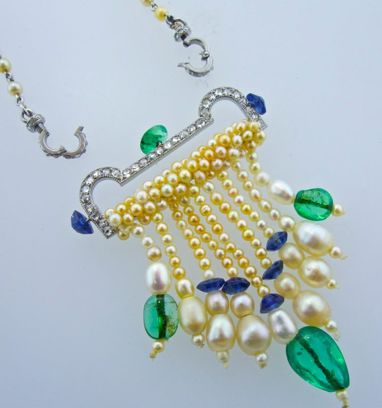Art Deco French Diamond, Natural Pearl, Emerald, Sapphire Necklace For Sale 1