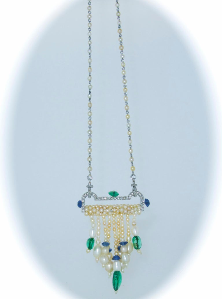 Art Deco French Diamond, Natural Pearl, Emerald, Sapphire Necklace For Sale 2