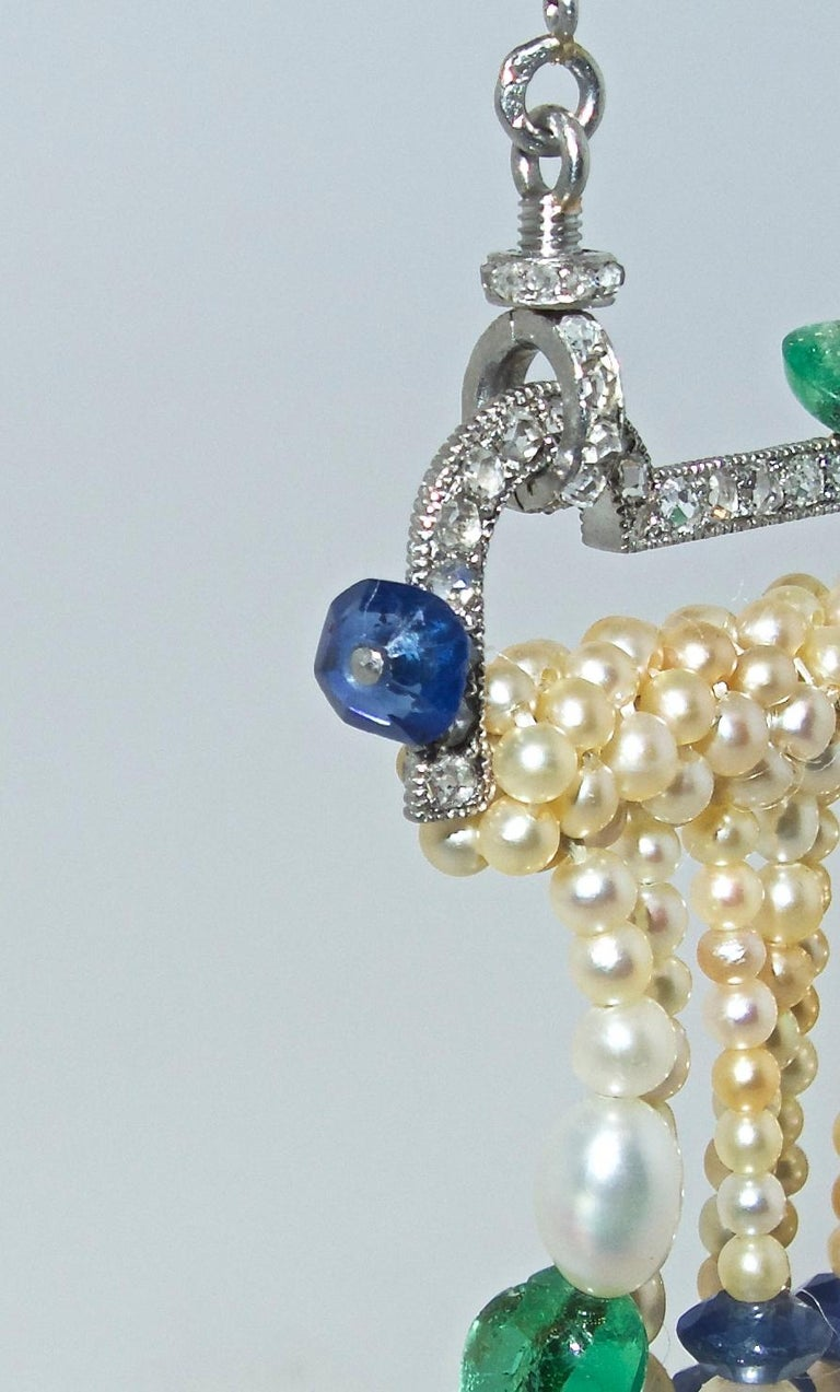 Art Deco French Diamond, Natural Pearl, Emerald, Sapphire Necklace For Sale 3