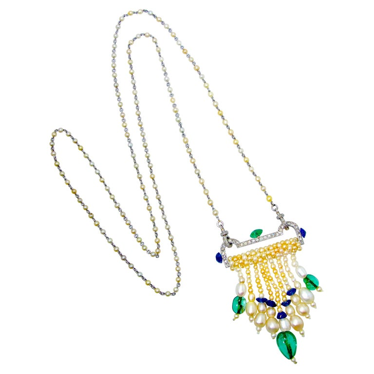 Art Deco French Diamond, Natural Pearl, Emerald, Sapphire Necklace For Sale