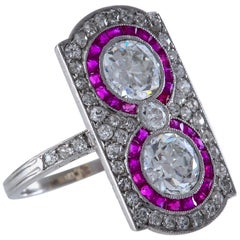 Art Deco French Diamond, Ruby and Platinum Ring