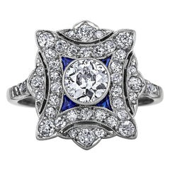 Art Deco French Diamond Sapphire Platinum Plaque Ring