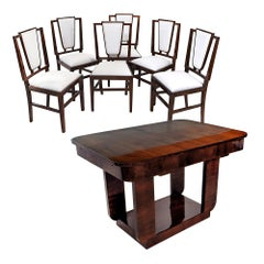 Art Deco French Dining Room Set Table and Six Chairs, Design Michel Dufet, 1930s