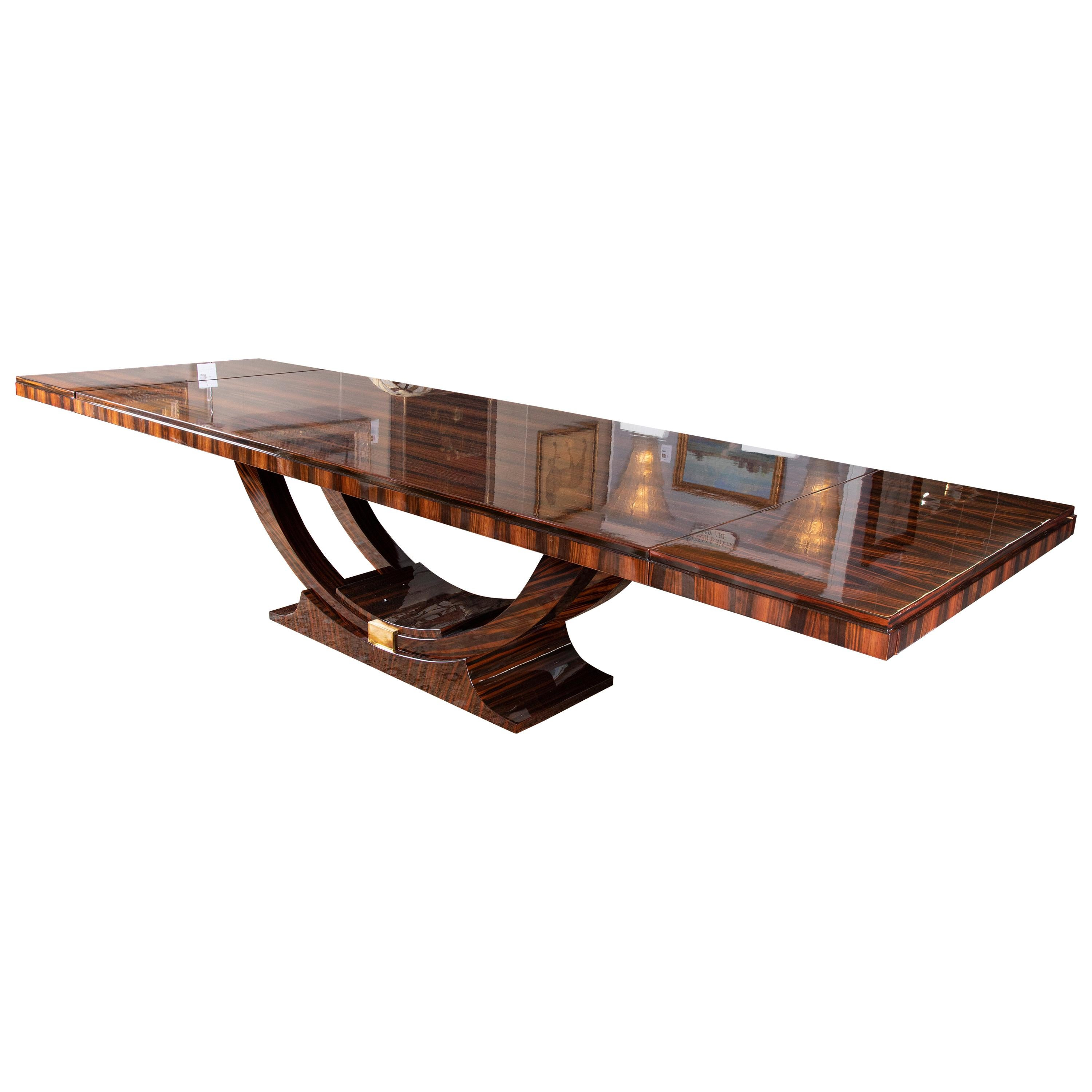 Art Deco French Dining Table in Macassar Wood