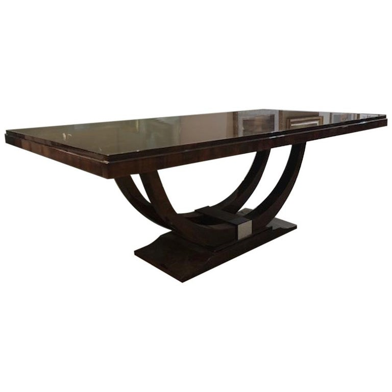 Art Deco French Dining Table in Walnut For Sale