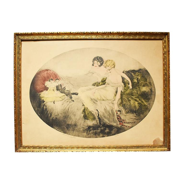 Art Deco French Doll Cotes Print by Berart Corp. in Giltwood Frame, circa 1920 For Sale