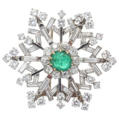Art Deco French Emerald Cabochon Diamond Platinum Brooch