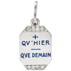 Art Deco French Enamel Diamond Platinum Qu Hier Que Demain Love Poem Charm