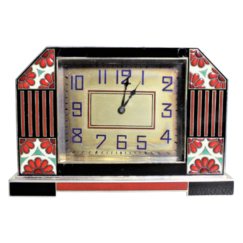 Art Deco French Enameled Silver Desk Clock