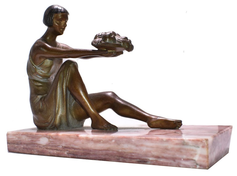 Spelter Art Deco French Figural Bookends, circa 1935 For Sale
