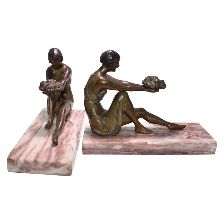 Art Deco French Figural Bookends, circa 1935 For Sale