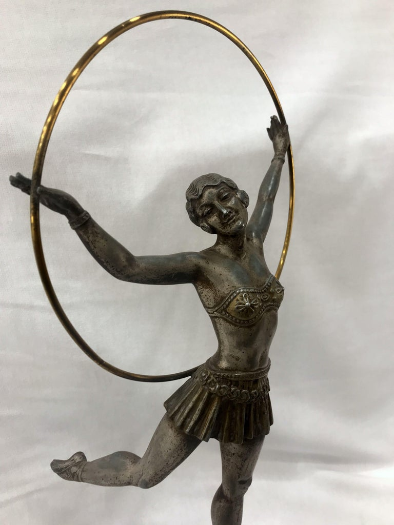 Silvered Art Deco French Figural Dancer, circa 1930 For Sale