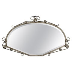 Art Deco French Forge Iron Wall Mirror Attributed to P. Kiss or E. Brandt
