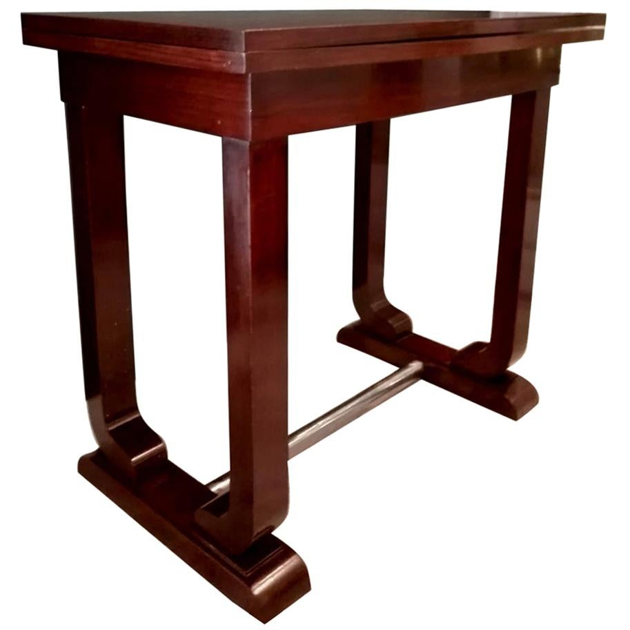 Art Decò French Game Table in Fine Exotic Woods with Folding Top