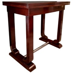 Art Decò French Game Table in Fine Exotic Woods with Folding Top, 1930