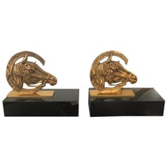 Art Deco French Golden Brass Horses in a Horseshoe on Marble Base Book-Ends