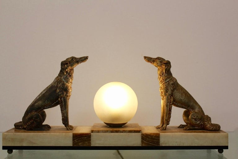 Art Deco French Greyhound Sculpture Table Lamp 3