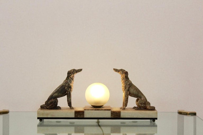 Art Deco French Greyhound Sculpture Table Lamp 5