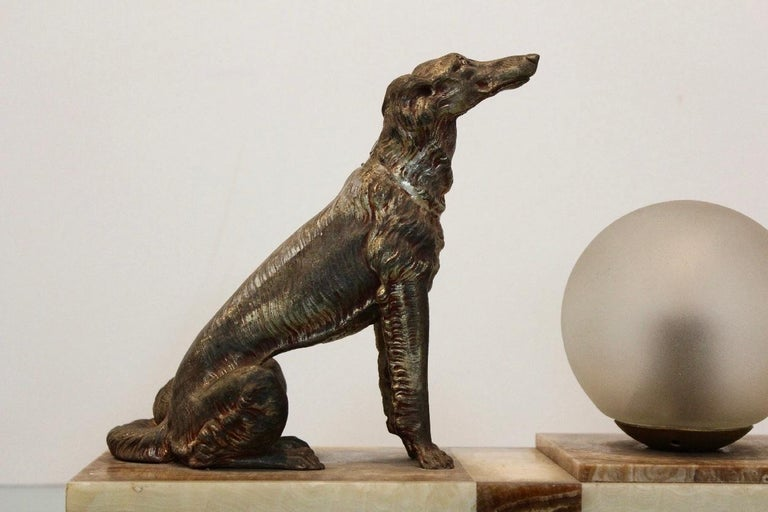 Art Deco French Greyhound Sculpture Table Lamp 8